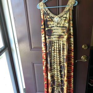 Cato tiger design crochet embellished dress